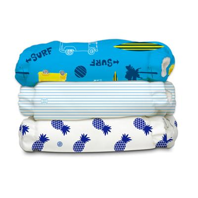 Charlie Banana 3 Diapers 6 Deluxe Inserts - Surf Rider (One Size Hybrid AIO)