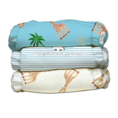 Charlie Banana 3 Diapers 3 Inserts Blue Sophie La Girafe X-Small