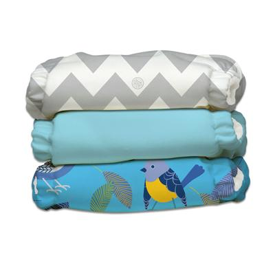 Charlie Banana 3 Diapers 6 Deluxe Inserts - Little Twitter (One Size Hybrid AIO)