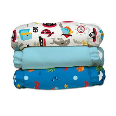Charlie Banana 3 Diapers 6 Deluxe Inserts - Oceana (One Size Hybrid AIO)