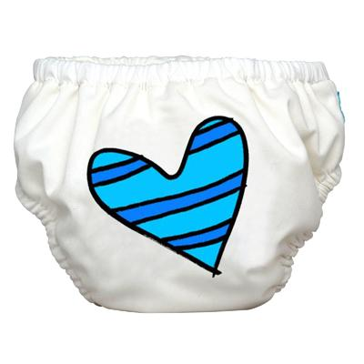 Charlie Banana 2-in-1 Swim Diaper & Training Pants - Matthew Langille Blue Petit Coeur White