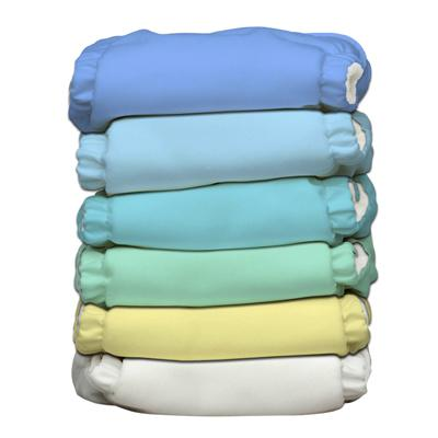 Charlie Banana 6 Diapers 12 Deluxe Inserts - Unisex Pastel (One Size Hybrid AIO)