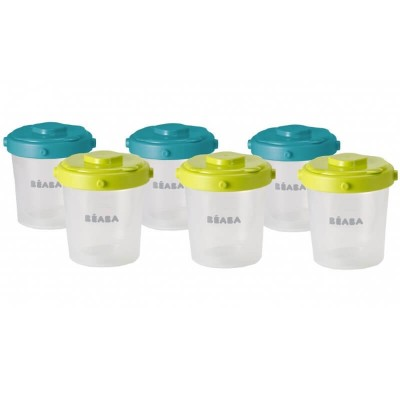 Beaba Clip Containers 200ml, Set of 6 - Peacock