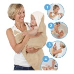 Cuddledry Baby Apron Bath Towel - White with Sheep Embroidery