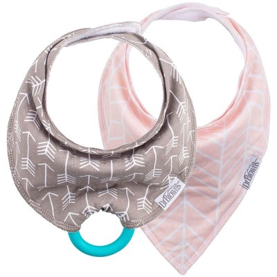 Dr Brown's Bandana Bib 2s with Teether - Grey/Pink