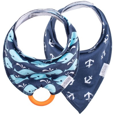 Dr Brown's Bandana Bib 2s with Teether - Navy