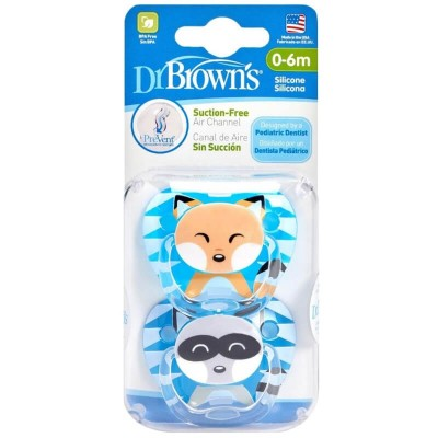 Dr Brown's PreVent Pacifier 2s - Stage 2 (0-6mos) - Blue & Dark Blue