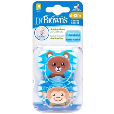 Dr Brown's PreVent Pacifier 2s - Stage 2 (6-12mos) - Blue & Dark Blue