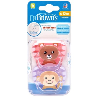 Dr Brown's PreVent Pacifier 2s - Stage 2 (6-12mos) - Pink & Purple