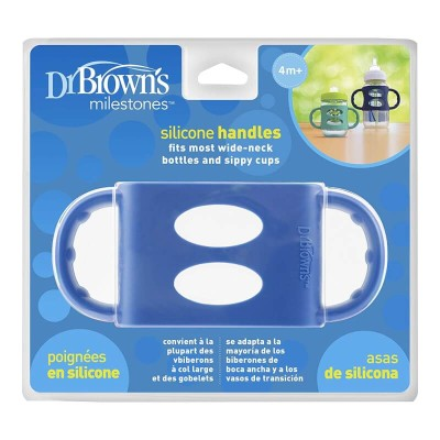 Dr Brown's Wide-Neck Silicone Handles - Blue 4m+