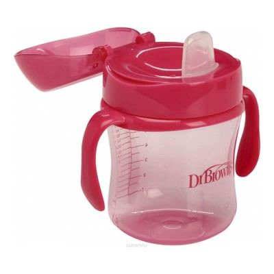 Dr Brown's Soft-Spout 6oz Cup with Handle 6m+ (Pink)