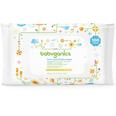 Baby Ganics Face, Hand & Baby Wipes - Fragrance Free 100s