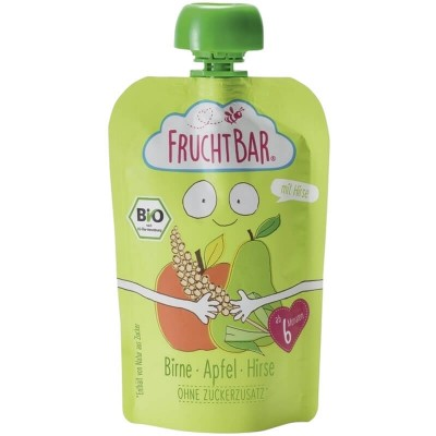 FruchtBar Organic Fruit Puree with Millet - Pear & Apple 100g (6 mos+)