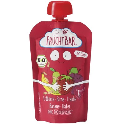 FruchtBar Organic Fruit Puree with Oat - Strawberry, Pear, Grape & Banana 100g (6 mos+)