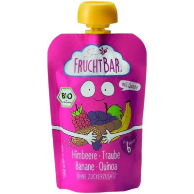 FruchtBar Organic Fruit Puree with Quinoa - Raspberry, Grape & Banana 100g (6 mos+)