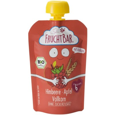 FruchtBar Organic Fruit Puree with Whole Grain - Raspberry & Apple 100g (6 mos+)