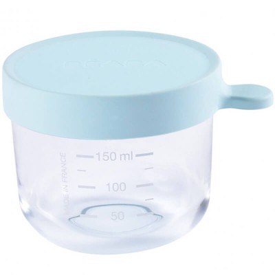 Beaba Glass & Silicone Container 150ml - Blueberry
