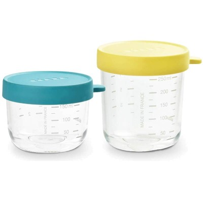 Beaba Glass & Silicone Containers - Set of 2 (150ml & 250ml) - Peacock / Neon