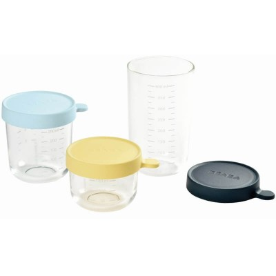Beaba Glass & Silicone Containers - Set of 3 (150ml, 250ml & 400ml) - Lemon, Blueberry, Dark Blue