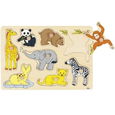 Goki Lift-Out Puzzle - Wild Baby Animals