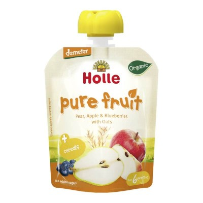 Holle Organic Pear, Apple & Blueberries with Oats Pouch 90g (6 mos+)