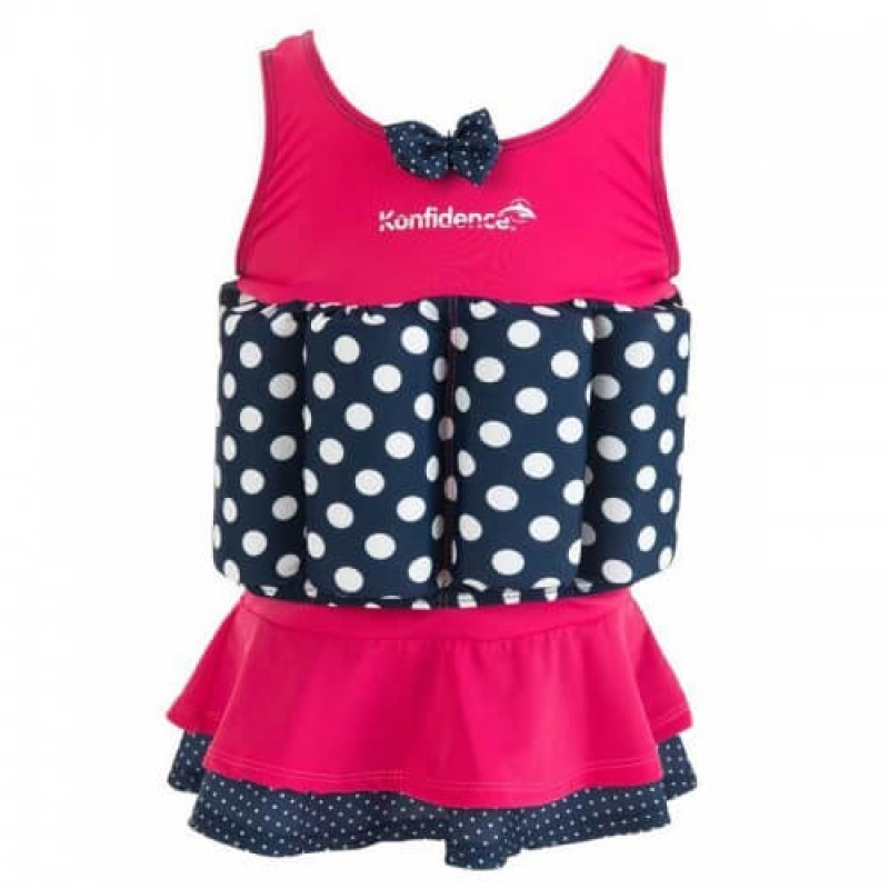 c8d0bb1add Konfidence Floatsuit - Pink & Navy Polka - 1-2 Years
