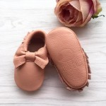Little Caleb Moccasins - Bow Blush Leather Moccasins - 12-18 mos