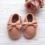Little Caleb Moccasins - Bow Blush Leather Moccasins - 6-12 mos