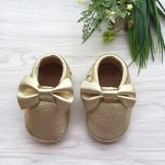 Little Caleb Moccasins - Bow Gold Leather Moccasins - 12-18 mos