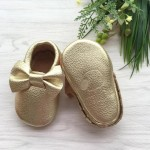 Little Caleb Moccasins - Bow Gold Leather Moccasins - 6-12 mos