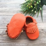 Little Caleb Moccasins - Classic Electric Coral Leather Moccasins - 6-12 mos