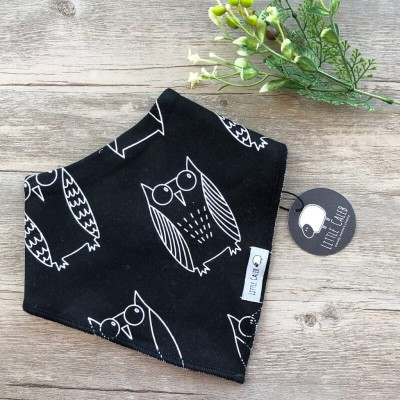 Little Caleb Organic Bib - Black Owl