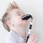Little Caleb Teether & Pacifier Clip - Cookie Teether - Black