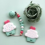 Little Caleb Teether & Pacifier Clip - Cupcake Teether - Mint