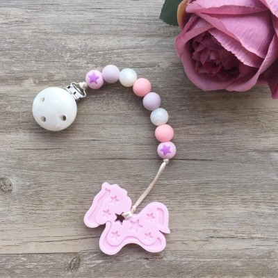 Little Caleb Teether & Pacifier Clip - Pony Teether - Pink