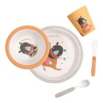 Moulin Roty Les Jolis Trop Beaux Baby Safe Bamboo Ochre Dish Set 27x24cm