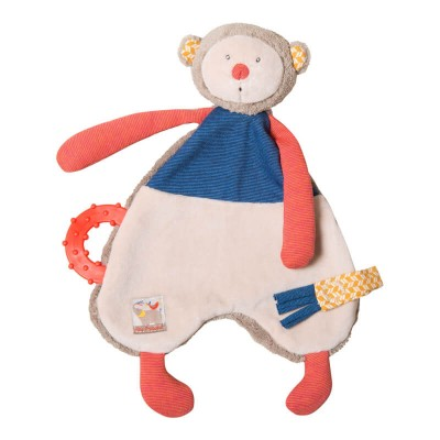 Moulin Roty Les Papoum Monkey Comforter with Pacifier Holder 29cm