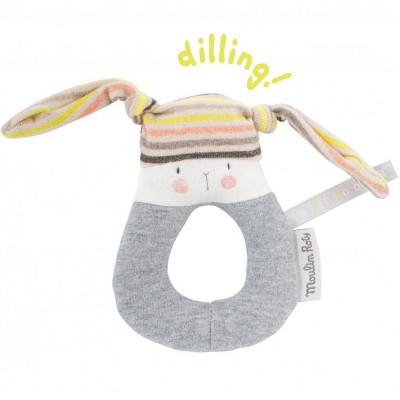Moulin Roty Les Petits Dodos Rabbit Ring Rattle 13cm