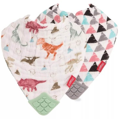 Nuby Muslin Bandana Bibs with Teether 2-Pack - Extinction Party & Triangles