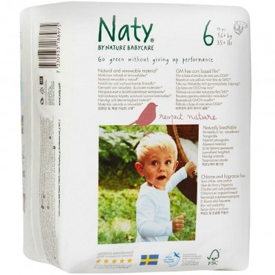 Naty by Nature Babycare Diapers Size 6 (16+kg, 35+ lbs.) 18 pcs