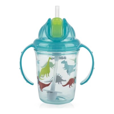 Nuby Flip-it Tritan Cup with Thin Silicone Straw & 360 Weighted Straw 240ml - Dinosaurs