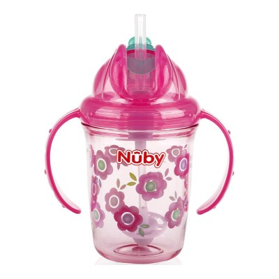 Nuby Flip-it Tritan Cup with Thin Silicone Straw & 360 Weighted Straw 240ml - Flower