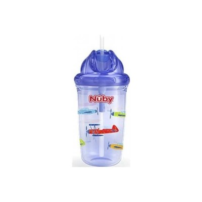 Nuby Flip-it Tritan Cup with Thin Silicone Straw & PE Straw 300ml - Blue (1st & 2nd World Wars)