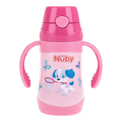 Nuby No-Spill Clik-It Stainless Steel Insulated Flip-It 280ml - Not My Little Puppy
