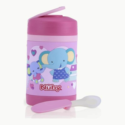 Nuby Stainless Steel 3D Food Jar with Silicone Spoon 430ml - Pink Elephant