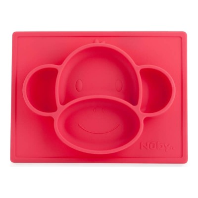 Nuby Sure Grip Miracle Mat Section Plate - Pink Monkey