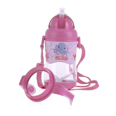 Nuby Tritan Flip It with 3D Vinyl Wrap with Weighted Straw 400ml - Pink