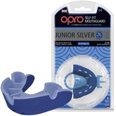 OPRO Junior Silver Self-Fit Mouthguard (Up to Age 10) - Blue / Light Blue