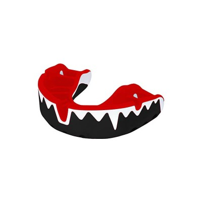 OPRO Platinum Fangs Mouthguard 7+ Adult Black/White/Red