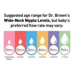 Dr Brown's Options+ Wide-Neck Breast-Like Silicone Nipples 2-Pack - Level 1 - 0m+